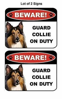 2 Count Beware Guard Collie on Duty (v1) 9 inch x 11.5 inch Laminated Dog Sign