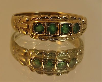9ct Yellow Gold EMERALD GYPSY BAND RING  Size P 1/2 Hm br41