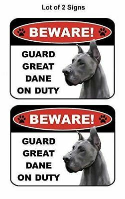 2 Count Beware Guard Great Dane on Duty (v1) Laminated Dog Sign