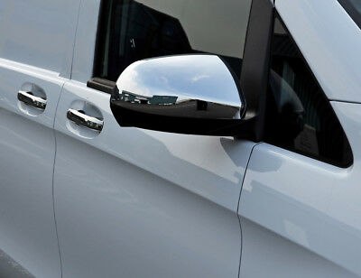 Chrome Wing Mirror Trim Set Covers To Fit Mercedes-Benz Vito W447 (2015+)