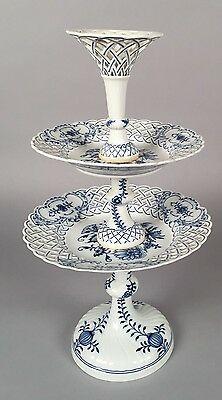 Antique Meissen Blue Onion Two-Tiered Reticulated Compote - X Swords SIGNED
