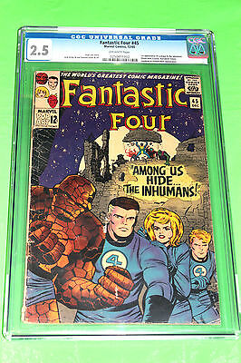 Fantastic Four 45 - 2.5 CGC 1st appearance of THE INHUMANS! ABC tv series - 1965