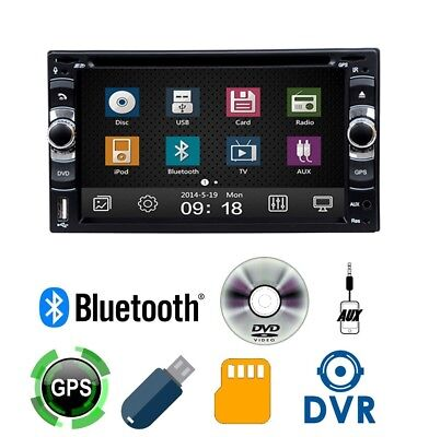 "Autoradio 2 Din 7"" GPS Navigatore DVD CD Bluetooth Stereo Touchscreen USB SD AUX"