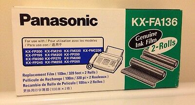 Panasonic KXFA136 Genuine Fax Machine Ink Film Roll Refill 2/Box New Sealed