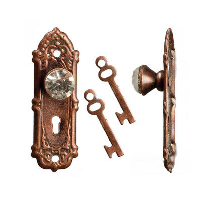 Opryland Crystal Door Handles In Bronze With Keys, Doll House Miniatures