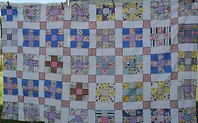 Vintage 1930-40's 9 Patch quilt top, lots of feed sack prints, bright prints