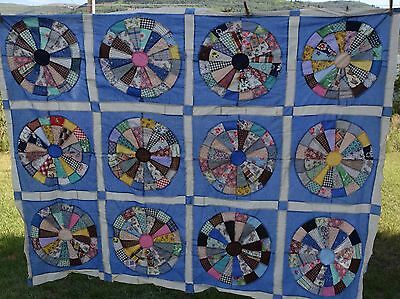 Vintage 1930-40's Wagon Wheel quilt top, feed sack fabrics, prints