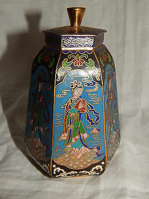 Antique Chinese Enamel Figural Tea, Tobacco Caddy Figural  Jar