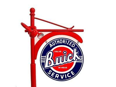 """Crafted 1-18 Scale Lit Up Buick Dealer Pole Sign 14"""" Tall Garage Diorama Display"""