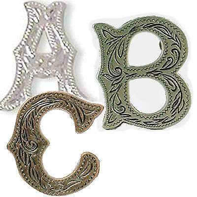 Alphabet Letter Concho in Choice of Silver, Antique Silver and Antique Copper