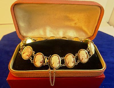 9ct Gold Carved Shell Cameo Bracelet safety chain Hm 1977 Perfect 40th Gift