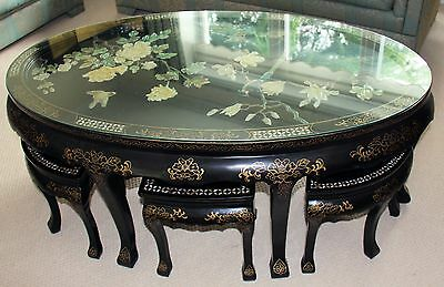 Large Chinese Black Coffe table with six stools