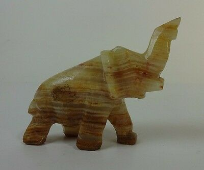 "Vintage Carved Art Deco MARBLE ELEPHANT Figurine 15 oz 4"" tall natural colors"