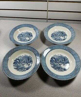 "VINTAGE Currier & Ives - Rimmed Soup Bowls 8 3/8"" Early Winter 2 Sets of 4"