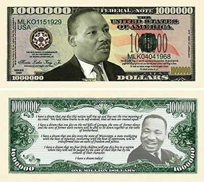 "100 Martin Luther King Jr. Million Dollar Bills with Bonus ""Thanks a Million"" Gi"