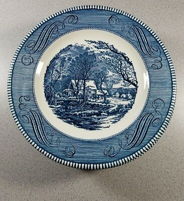 "2 Sets of 8 Royal China Currier & Ives Blue 10"" Dinner Plates Old Grist Mill 10"""