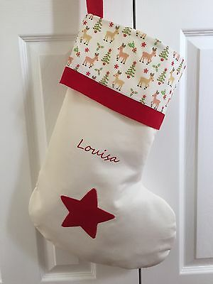 Personalised  RED STAR REINDEER Xmas Stocking  embroidered Handmade 51x37cm
