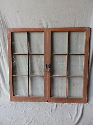 Antique Pair 6 Lite Casement Windows Country Cabinet Pantry Doors 41x22 404-17P