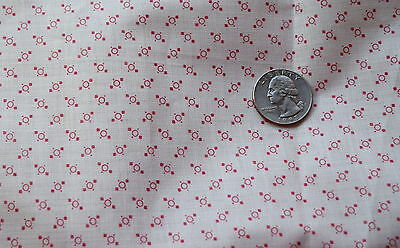 1 yd 1870-80's white mill engraving fine shirting, tiny red motifs