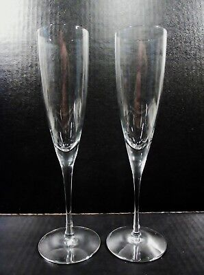Vtg TIFFANY & Co Crystal CLASSIC Y Shape Pair Champagne Toasting Flutes
