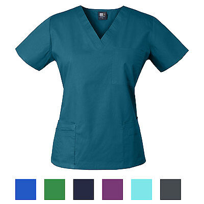 Medgear Women's Scrubs Top, Solid Color V-neck with 3 Pockets 7891T