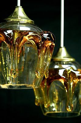 Set of 6 very nice Austrian / Venetian ? amber/ clear glass lamps, rewired GWO