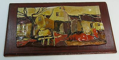 Ornate Mid-Century Simona Dunglova Czechoslovakia Art Pottery Painted Plaque