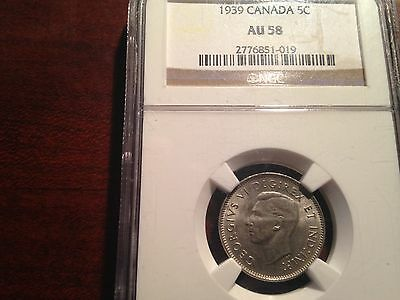 1939 Nickel Five Cents Canada Ngc Au58