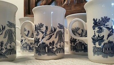 6 Vintage Churchill Blue Willow Coffee Mugs England