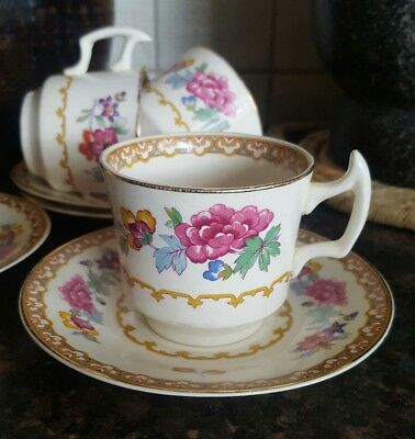4 A J Wilkinson Floral Demitasse Coffee Cups and Saucers 1947+