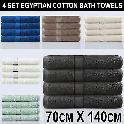 Set of 4 Bath Towels Egyptian Cotton Soft Warm Towel Bathroom Luxury Hotel NEW