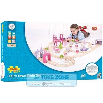 Bigjigs Rail Wooden Fairy Town Train Playset Railway Toy for Kids 75 Pieces