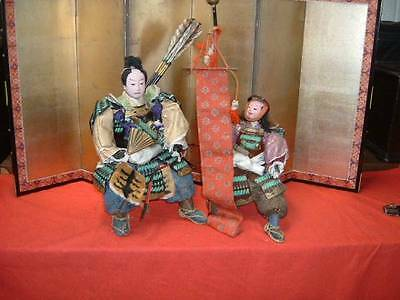 Japanese Antiques Samurai Musha Festival Yoroi Ningyo Armor Warrior Doll Set
