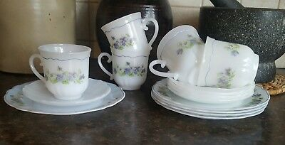 5 Vintage Arcopal France Pansies Coffee Cups Saucers Plates Trios