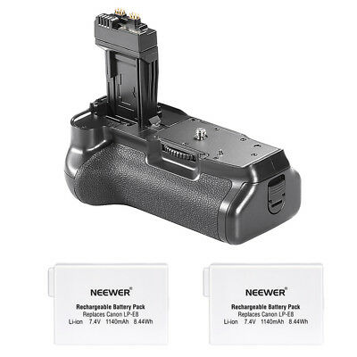 Neewer Battery Grip + 2 PCS Batteries for Canon EOS 550D/600D Rebel T2i