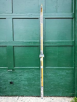 """VINTAGE Wooden SINGLE Ski 77"""" Long Have Old White and Brown Finish"""