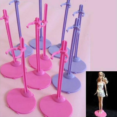 Plastic HO Pink AU Hangers Stand for Barbie Doll Dress Clothes Accessories