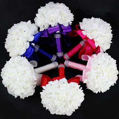 Silk Flower Bride Party Bridal Artificial Colourfast Roses Foam Bouquet Wedding