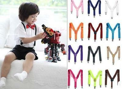 HO AU New Children Kids Boy Girls Clip-on Suspenders Elastic Adjustable Braces