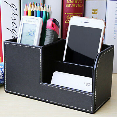 Useful PU Leather Desk Organizer Box Office Home Storage Pen Holder Box