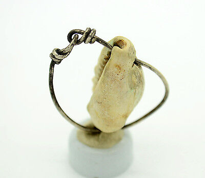 Medieval Viking Period Silver Ring with seashell