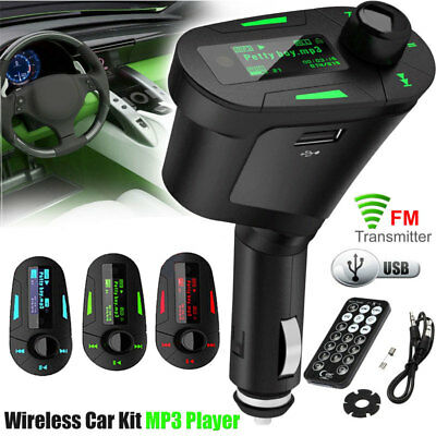 Car MP3 Player Wireless FM Transmitter SD USB Charger For Mobile Phone Tablet UK