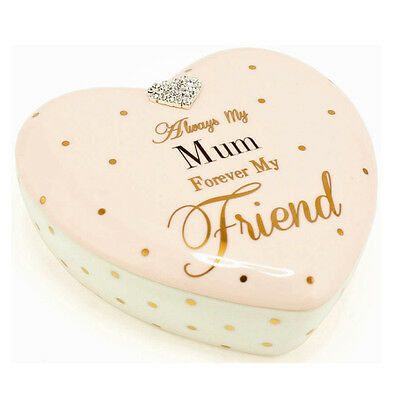 Mad Dots Mum Heart Shape Jewellery Trinket Box Rings Necklaces Ceramic Diamante