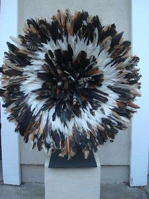 "32"" Exotic  / African Feather Headdress / Juju Hat / 1st. Quality / ""Beautiful"""