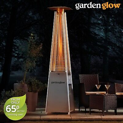 Garden Glow Adjustable Heat Stainless Steel 13kW Square Flame Gas Patio Heater