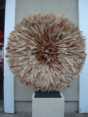 "30"" Tan & White  / African Feather Headdress / Juju Hat / 1st. Quality"