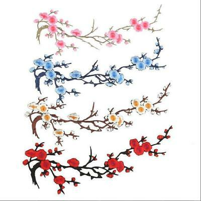 Embroidered Hot Flower Patch Applique Motif Iron on Craft Beautiful Plum Blossom