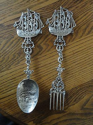 Large Antique Galleon Topped Serving Spoon & Fork Hanau Germany