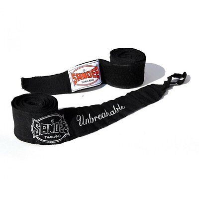 Sandee Muay Thai 5M Black Stretch Hand Wraps Boxing Wraps