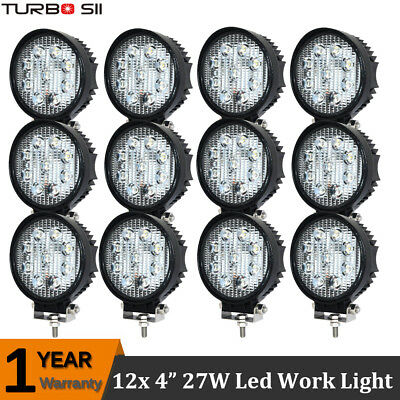 12x 4'' inch Pods 27W Round LED Work Light Flood Driving Boat Truck JEEP Offroad